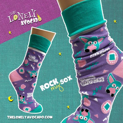 1990s 90s bitch purple crew socks with retro designs