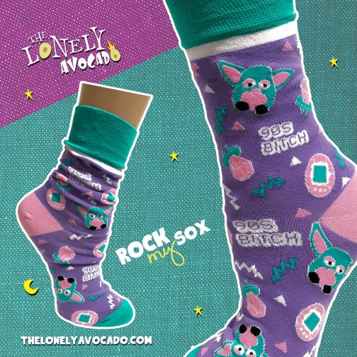 90s bitch colorful purple, pink & teal crew socks with nostalgic designs
