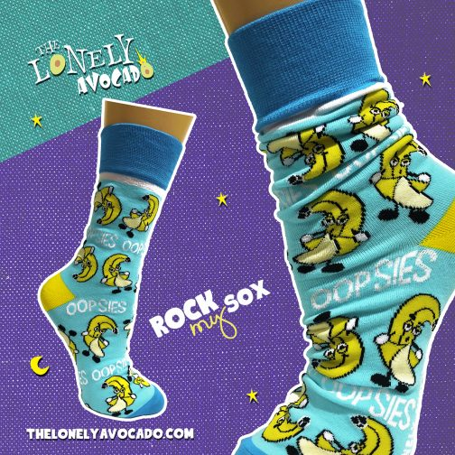 Funny blue banana flasher pervert unisex socks