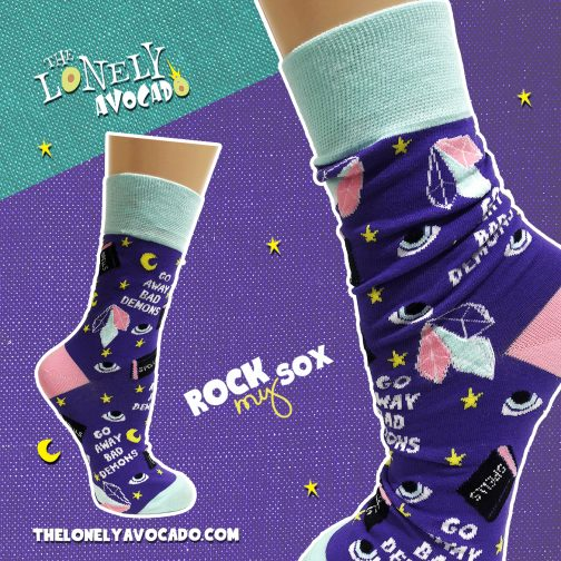 Bad demon crystal energy socks in dark purple