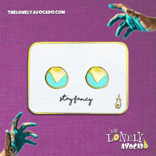 Simple egyptian teal blue circle earrings