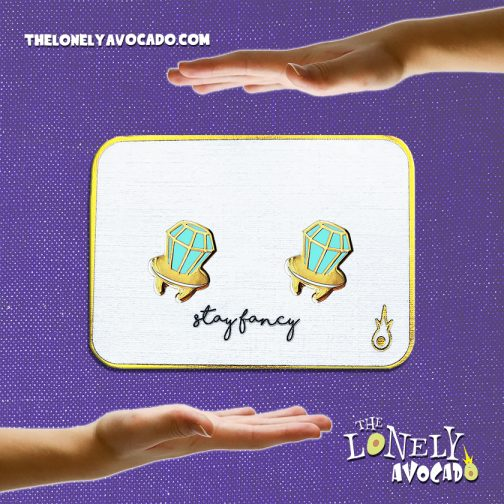 Teal blue ringpop stud earrings with a fancy 16k gold plating