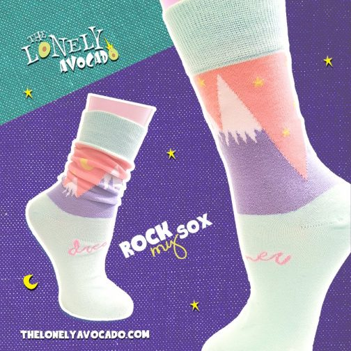 Pastel mint mountain dreamer socks