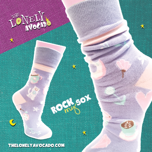 Pastel purple coffee cat crew socks with donuts and flowers