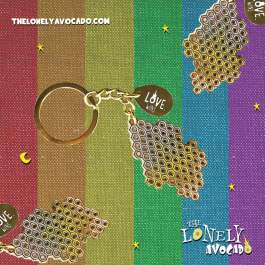 RAINBOW HONEYCOMB LOVE WINS KEYCHAIN