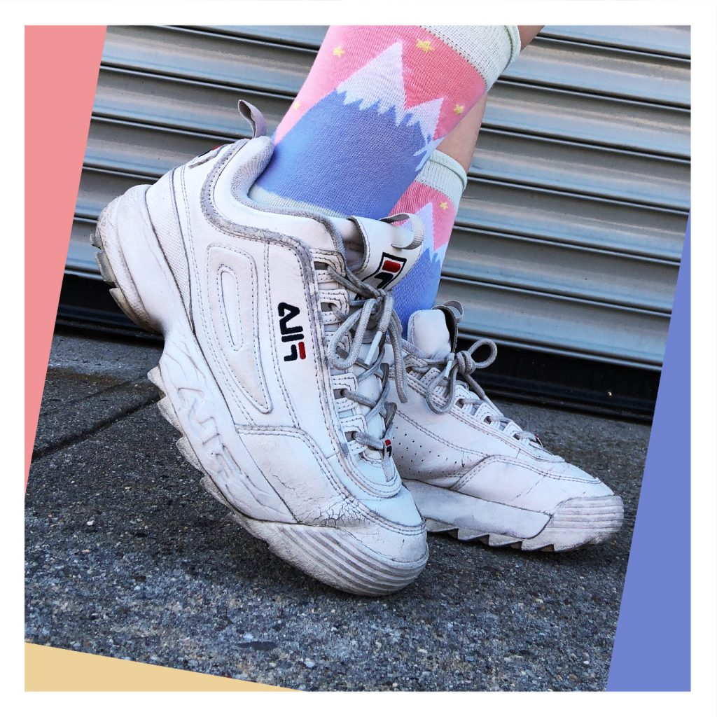 White Shoes - Wearing mountain socks