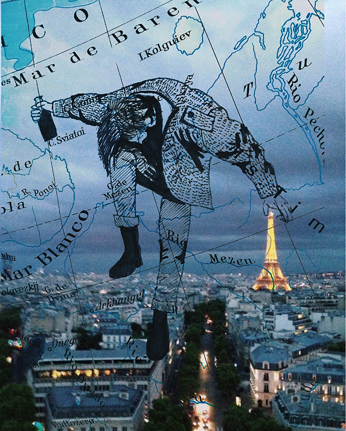 Map - Guy Dancing Holding Bottle - Paris - Artwork by Gabriel Sciutto