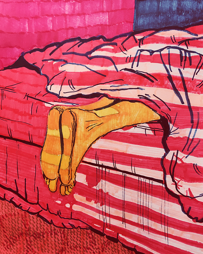 In Bed - Feet Hanging over bed - Red Blankets - Paris - Artwork by Gabriel Sciutto