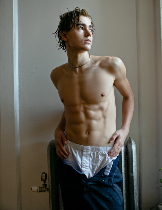 Charlie Besso - Shirtless - White Boxers - Pants unzipped holding waist
