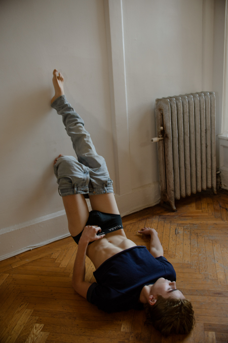 Charlie Besso by Chris Fucile - Boy Lay on Floor in Underwear - Feet on wall