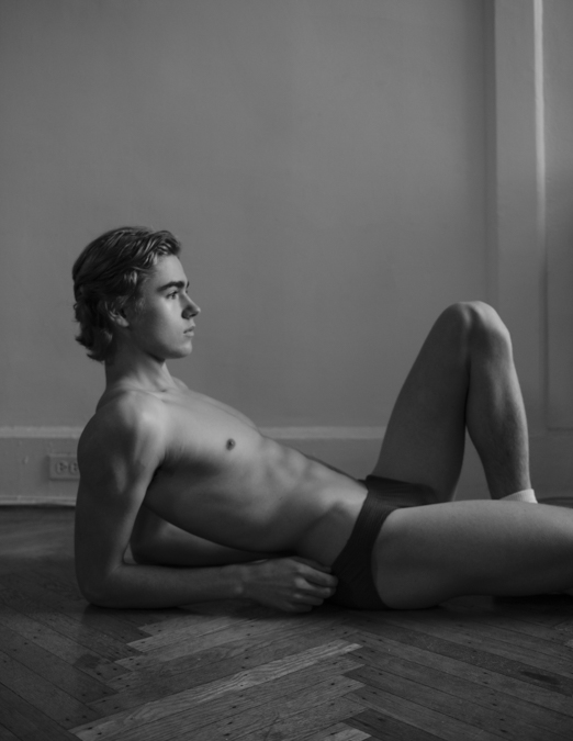 Charlie Besso - Half Nude - Shirtless Abs - Breif Underwear - Looking off to side