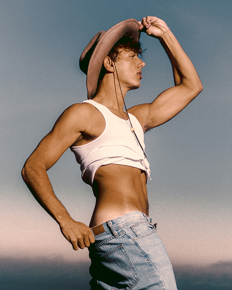 Shea Durazzo by Norrel Blair - Tank Top - Shirtless - Blue Jeans and Hat Outside